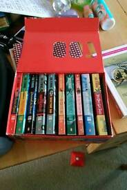 James bond book collection, penguin, in box, 10 out of 14 books. 2, 7, 13 and 14 missing.