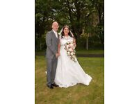 lace and dimante wedding dress and veil for sale