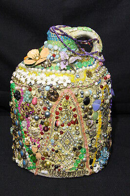 1940-60's Folk Art Memory Jug with Vintage Jewelry, Religious Medals, & Beads