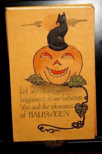 #H1-HTF Halloween Orange Postcard-Blk Cat on Top of Big Happy JOL-By Gibson,1911