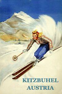 Ski-Skiing-Kitzbuhel-Austria-Vintage-Lady-Poster-Reproduction-FREE-S-H