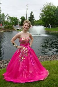 Size 4 Pink & Gold Prom Dress