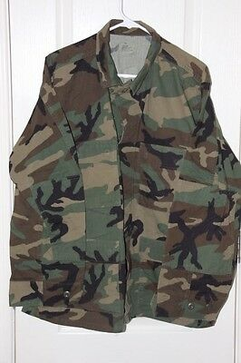 Vintage Woodland Camo BDU Fatigue Shirt Coat Large Short