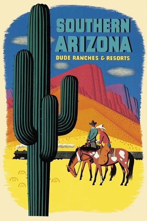 Arizona Cowboy Horse Train Dude Ranch Advertising Vintage Poster Repro FREE SHIP