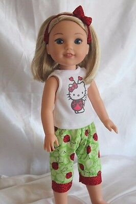 Doll Clothes fits 14inch American Girl Wellie Wishers Doll Dress Outfit LadyBug