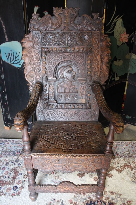 17th Century Charles II English Carved Oak Wainscot Chair w/ Portrait & Beasts