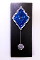 Modern Abstract Metal Wall Art Clock - Sapphire Paramount by Artist Jon Allen