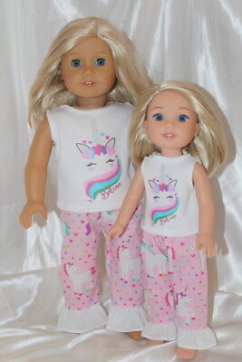 Dress Outfit for 14inch Wellie Wishers 18inch American Girl Doll Clothes Unicorn