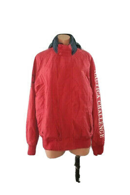 Vintage 90's Red Nautica Challenge J-Class Sailing Jacket Competition ~ Size M