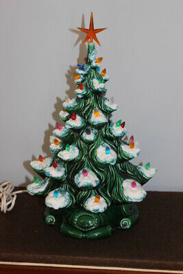 "Vintage ATLANTIC MOLD Lighted Ceramic Christmas Tree 19"" x 11"" Lighted Ex Cond"