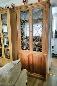 Vintage solid pine display cabinet 89.5cm w top/83cm 28cm d 200cm ht
