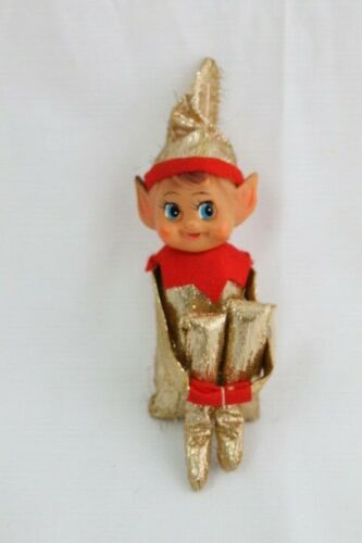 Vintage Knee Hugger Gold Metallic Red Christmas Elf Japan Shelf Sitter Toy