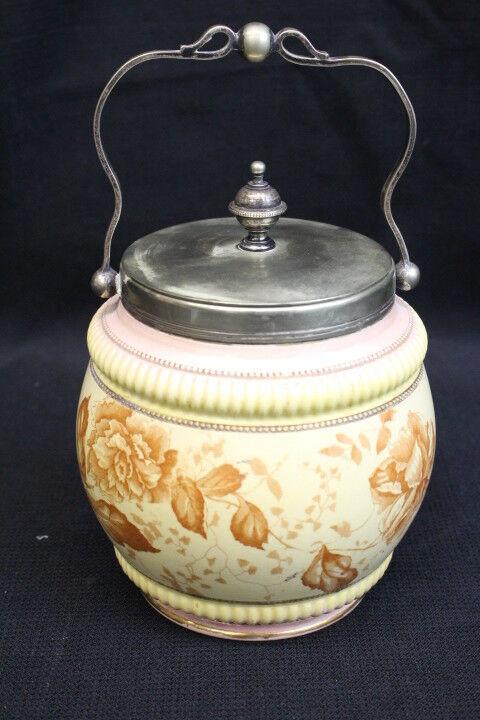 Antique Porcelain BISCUIT JAR w/ Silverplate Handle & Lid Cream Floral c. 1891