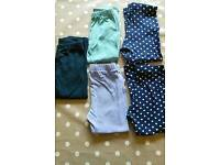 5 pairs of leggings aged 2-3 years from tu and George