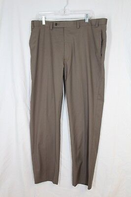 CALVIN KLEIN Pants 38 32 Taupe Lt Brown Flat Front Washable Pockets Poly Rayon
