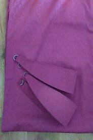 Beautiful Wine Red Lined pencil pleated embossed Curtains with tie backs