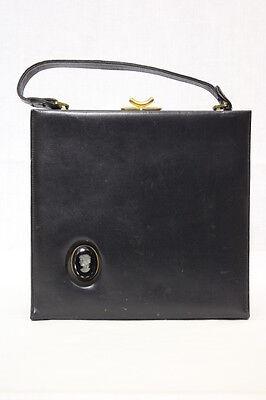 1950s Handbags, Purses, and Evening Bag Styles VINTAGE 1950's VIKI ORIGINAL Black Leather Handbag w/Cameo Inset & Red Lining $65.00 AT vintagedancer.com