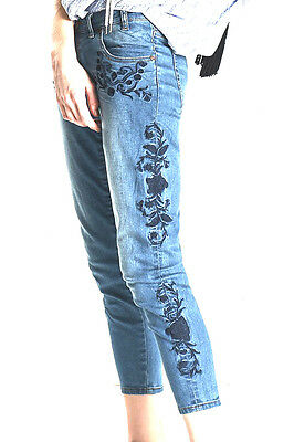 New One Teaspoon Americano Lola Embroidered Jeans 26 4 8 Women  200 Blue Revolve