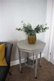 Vintage Octagon Side Table - Shabby Chic