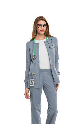 - Scrubs Cherokee Workwear Core Stretch Jacket 4315  Grey FREE SHIPPING!!!