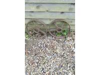 Old cast iron wheels suitable for shepherd's hut