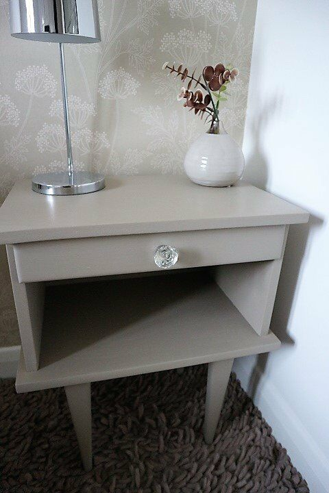 Vintage French Bedside Table With Drawer - Hand Painted, Old