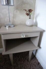 French Vintage Bedside Table With Drawer - Shabby Chic, Hand Painted