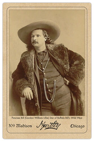 PAWNEE BILL Old West Showman Legend Vintage Hartley Photo Cabinet Card RP