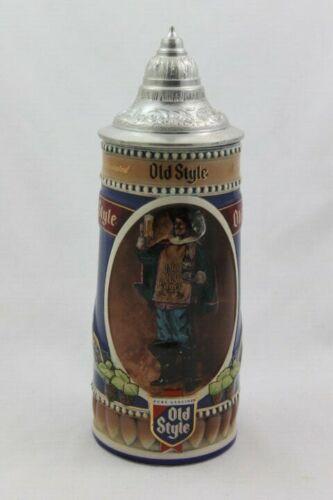 1990 Old Style Lager Beer Stein Genuine Ceramic Lidded Mug Heileman Brewing Ltd