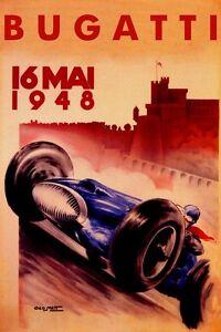 BLUE-1948-BUGATTI-SPEED-FASTEST-WINNER-CAR-RACE-GRAND-PRIX-VINTAGE-POSTER-REPRO