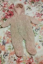 Lovely Baby Girls Snowsuit pink 3-6 months nearly new