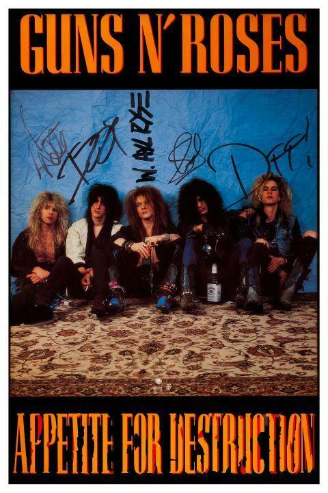 Guns N Roses **POSTER** Appetite For Destruction - SIGNED Promo Ad MUST SEE