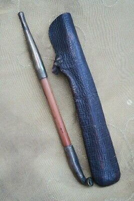 Japanese Kiseru Bamboo Pipe & Leather Pouch c1900
