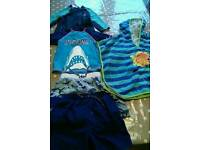 Boys 5-6 year old swimming set - two pairs shorts 2 rash vests and hoodie towel