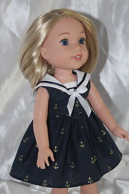 Doll Clothes fits 14inch American Girl Wellie Wishers Doll Dress Sailor