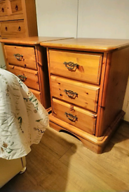 Pair of solid pine 3 draws bedside tables