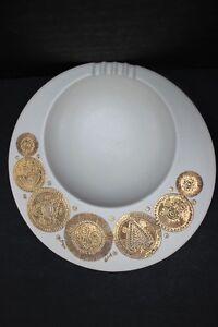 Vintage-Georges-Briard-Hyalyn-Midas-Pattern-Beige-Round-Ashtray-Gold-Sun-10-034