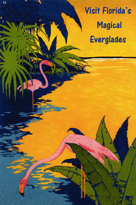 Florida Magical Everglades Flamingo Travel Vintage Poster Repro FREE (Magic Vintage Poster)