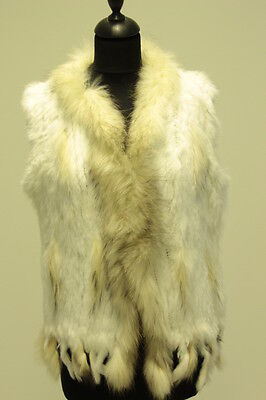 Pelzweste, NEU Fellweste, Kaninchen Pelzweste, Uni-Size, weiß, cremeweiß,Neu