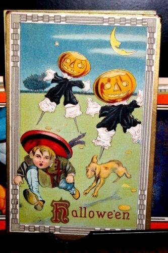 #H34Halloween Postcard Barton Spooner Pub Lil Dog w Child 1912