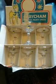 Six boxed babycham glasses