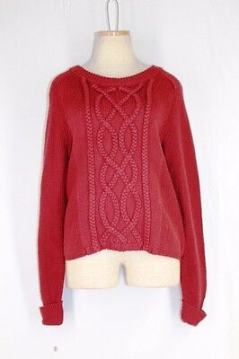 ANTONIO MELANI Gabi Sweater MEDIUM Fireplace Burnt Orange Wool Acrylic Braid](Fireplace Sweater)