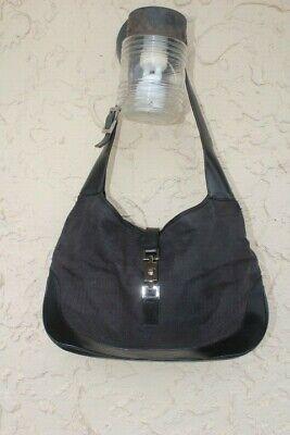 Gucci Jackie O  BLACK  CANVAS Leather HOBO  SHOULDER HANDBAG  001-3346