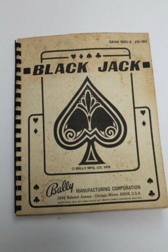Bally BLACK JACK Solid State Pinball Machine Manual - Used Original
