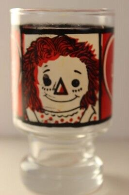 Vintage Raggedy Ann and Andy Bobbs-Merrill Co. Inc. I LOVE YOU Promo Glass 1972