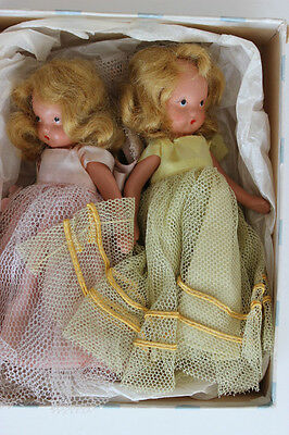 2 Nancy Ann Storybook Bisque Blond Dolls Pink Yellow Tulle Safety Pin Dress Box