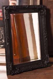 Ornate antique style framed mirror black
