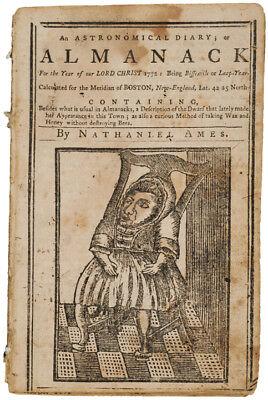 Paul Revere Engravings in 1772 Boston Almanac