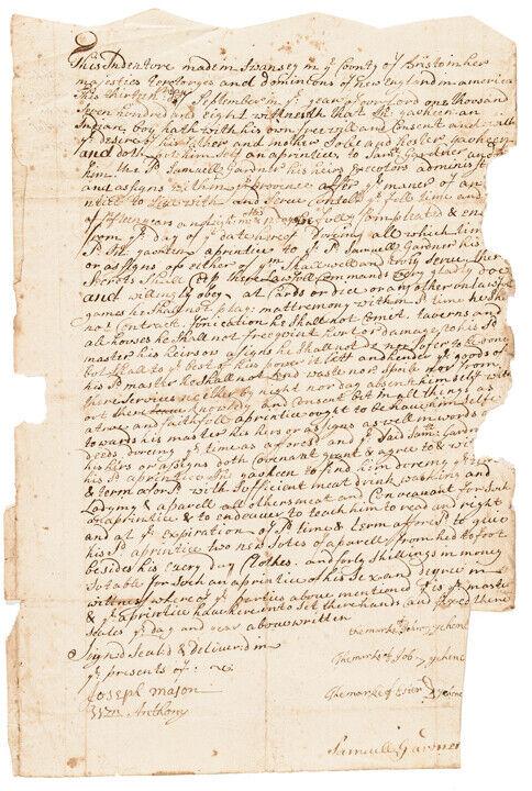 1708 Native American Indian Boy Signed Apprenticeship Document, Swanzey, Mass.