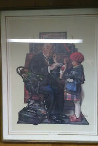 "Norman Rockwell Framed Art ""Doctor and the Doll"""